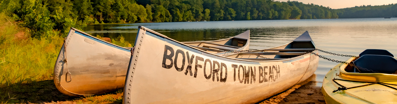 canoes at boxford town beach